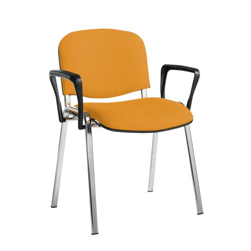 Taurus meeting room stackable chair with chrome frame and fixed arms - Solano Yellow