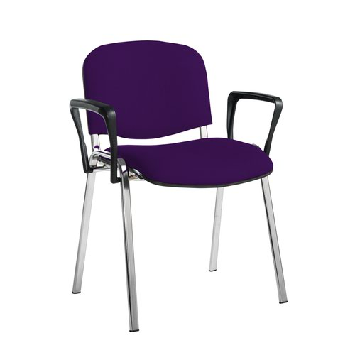 Taurus meeting room stackable chair with chrome frame and fixed arms - Tarot Purple