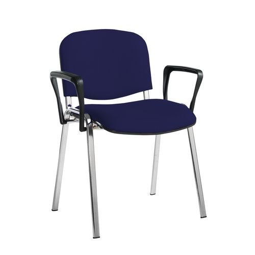 Taurus meeting room stackable chair with chrome frame and fixed arms - Ocean Blue