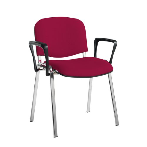 Taurus meeting room stackable chair with chrome frame and fixed arms - Diablo Pink