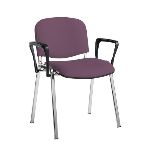 Taurus meeting room stackable chair with chrome frame and fixed arms - Bridgetown Purple