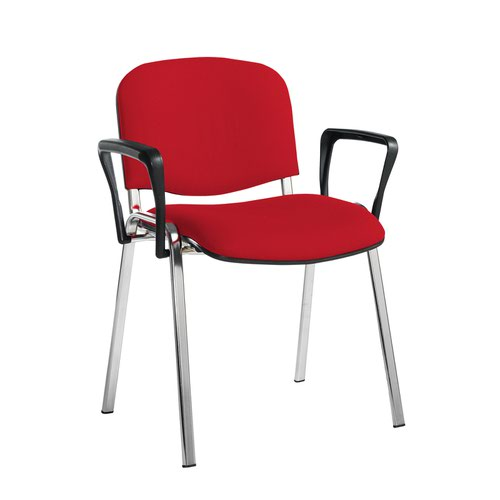 Taurus meeting room stackable chair with chrome frame and fixed arms - Belize Red