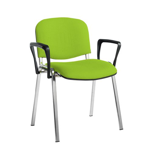 Taurus meeting room stackable chair with chrome frame and fixed arms - Madura Green