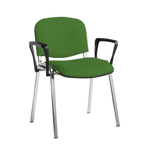 Taurus meeting room stackable chair with chrome frame and fixed arms - Lombok Green