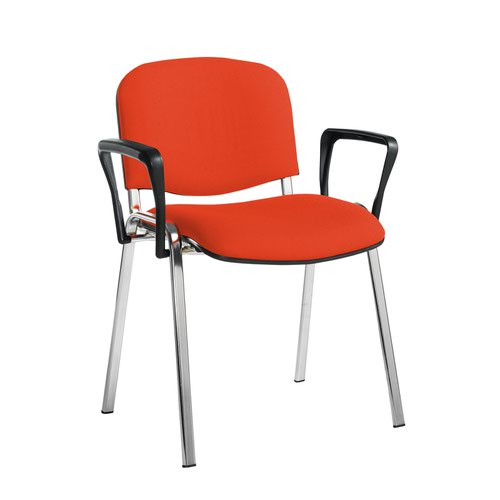 Taurus meeting room stackable chair with chrome frame and fixed arms - Tortuga Orange