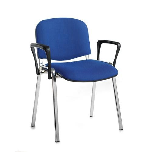 Taurus meeting room stackable chair with chrome frame and fixed arms - blue