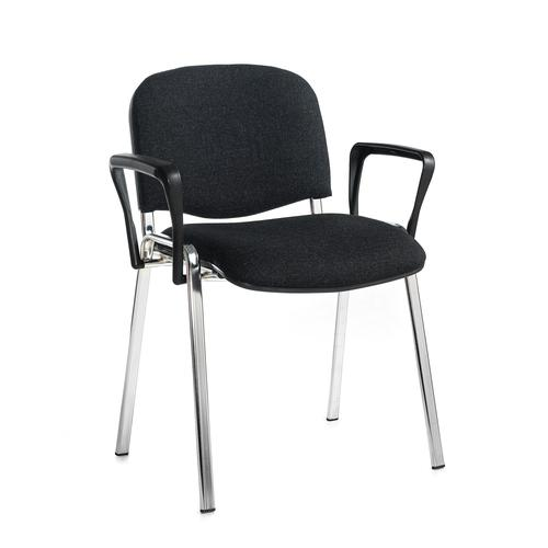 Taurus meeting room stackable chair with chrome frame and fixed arms - charcoal