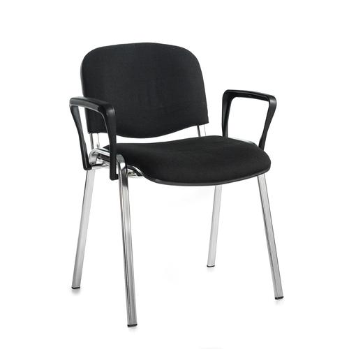 Taurus Stacking Arm Chair Chrome Frame/Black TAU40006-K