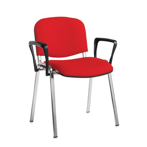 Taurus meeting room stackable chair with chrome frame and fixed arms - red