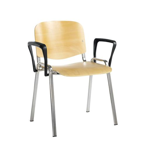 Taurus wooden meeting room stackable chair with fixed arms - beech with chrome frame