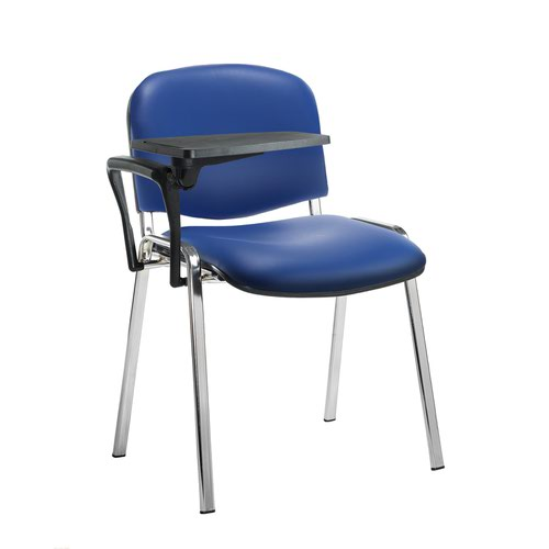 Taurus meeting room stackable chair with chrome frame and writing tablet - Ocean Blue vinyl