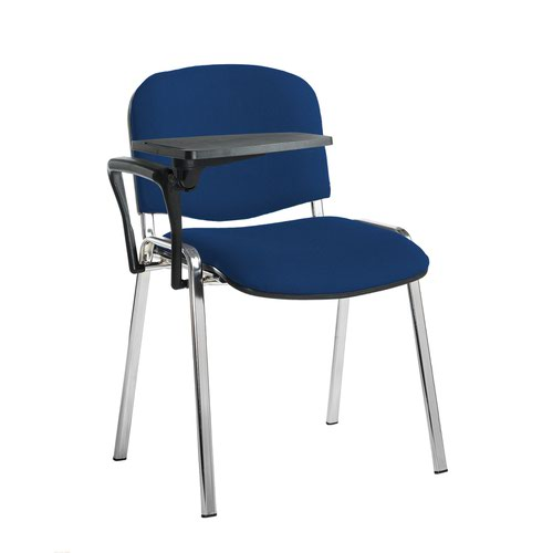 Taurus meeting room stackable chair with chrome frame and writing tablet - Curacao Blue