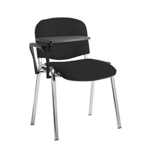 Taurus meeting room stackable chair with chrome frame and writing tablet - Havana Black