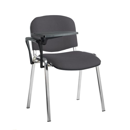 Taurus meeting room stackable chair with chrome frame and writing tablet - Blizzard Grey
