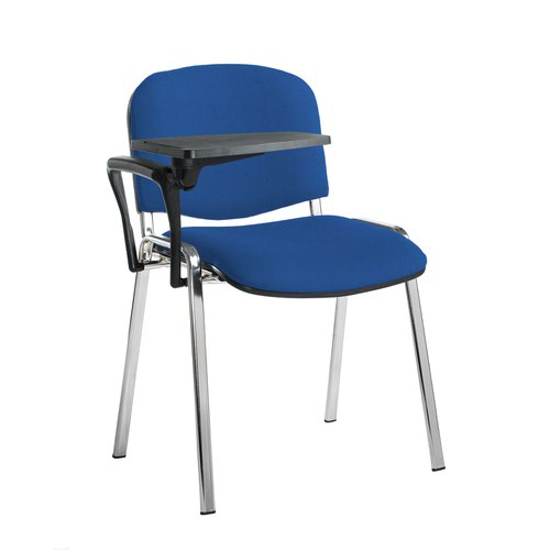Taurus meeting room stackable chair with chrome frame and writing tablet - Scuba Blue