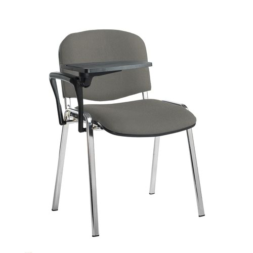 Taurus meeting room stackable chair with chrome frame and writing tablet - Slip Grey