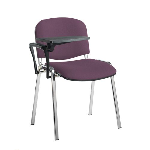 Taurus meeting room stackable chair with chrome frame and writing tablet - Bridgetown Purple