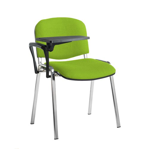 Taurus meeting room stackable chair with chrome frame and writing tablet - Madura Green