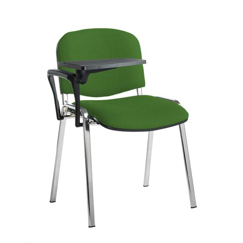 Taurus meeting room stackable chair with chrome frame and writing tablet - Lombok Green