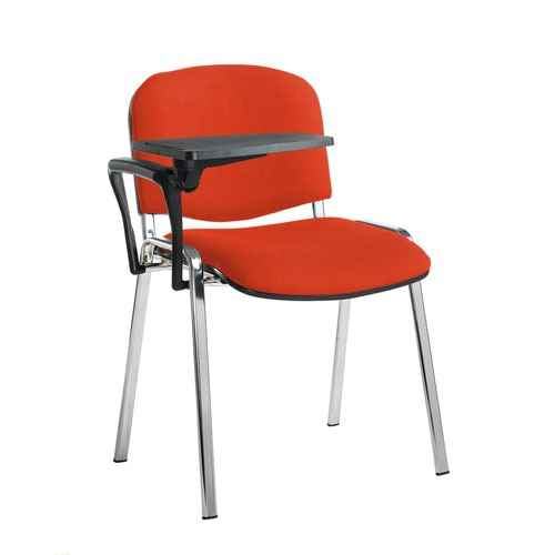 Taurus meeting room stackable chair with chrome frame and writing tablet - Tortuga Orange