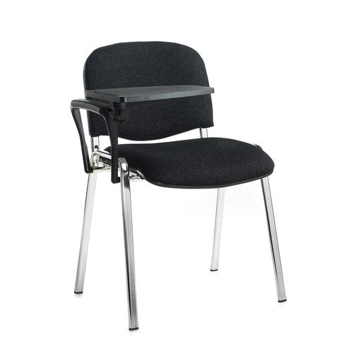 Taurus meeting room chair with chrome frame and writing tablet - charcoal