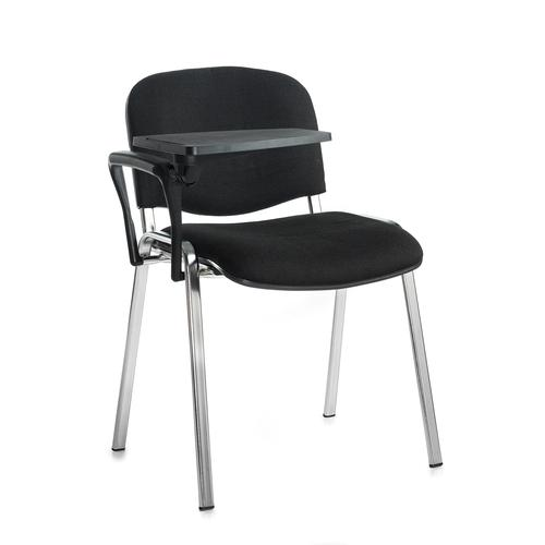 Taurus meeting room chair with chrome frame and writing tablet - black