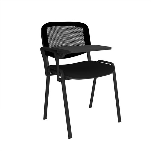 Taurus mesh back meeting room chair with writing tablet - black