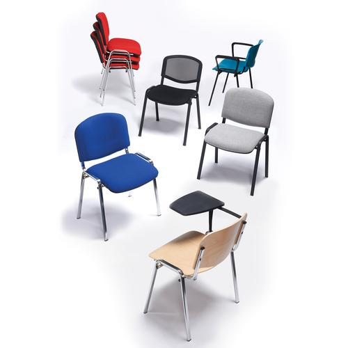 Charcoal meeting room stackable chair with chrome frame and no arms by Dams International, CHA2098