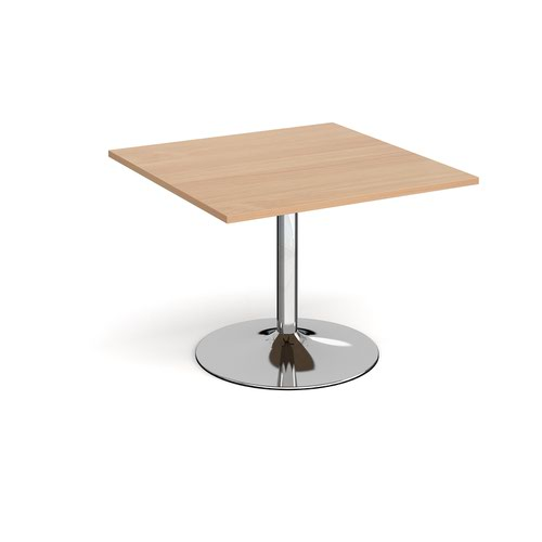 Trumpet Base Square Extension Table 1000mm X 1000mm Chrome Base Beech Top