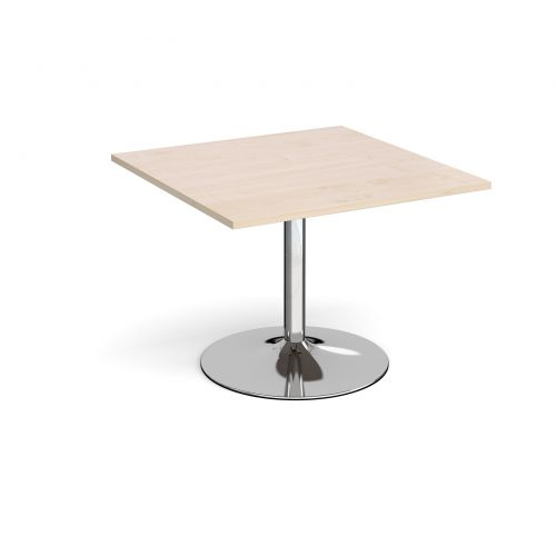 Trumpet Base Square Extension Table 1000mm X 1000mm Chrome Base Maple Top
