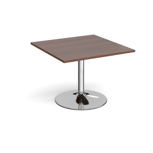 Trumpet base square extension table 1000mm x 1000mm - chrome base and walnut top