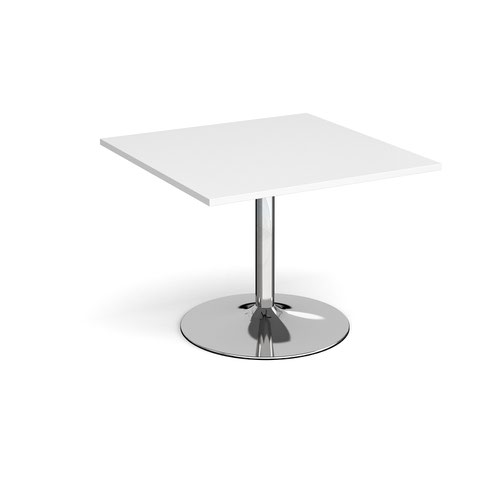 Trumpet base square extension table 1000mm x 1000mm - chrome base and white top
