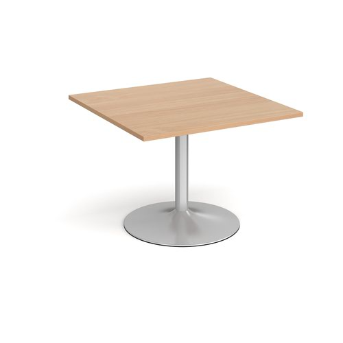 Trumpet Base Square Extension Table 1000mm X 1000mm Silver Base Beech Top