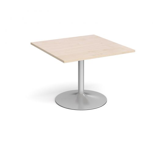 Trumpet Base Square Extension Table 1000mm X 1000mm Silver Base Maple Top