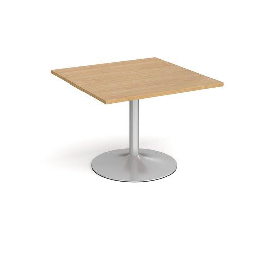 Trumpet Base Square Extension Table 1000mm X 1000mm Silver Base Oak Top