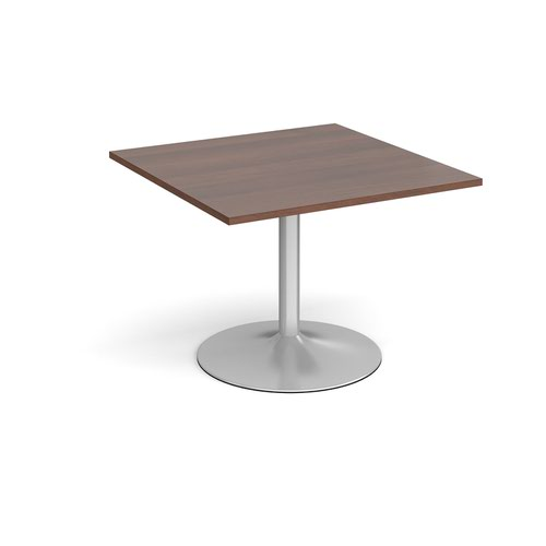 Trumpet base square extension table 1000mm x 1000mm - silver base and walnut top