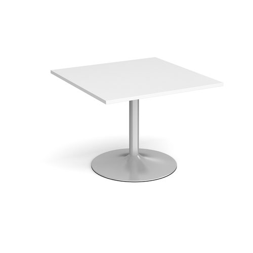 Trumpet base square extension table 1000mm x 1000mm - silver base and white top