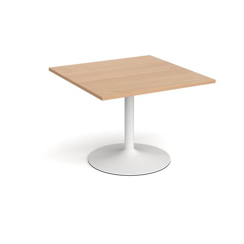 Trumpet base square extension table 1000mm x 1000mm - white base and beech top