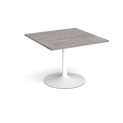 Trumpet base square extension table 1000mm x 1000mm - white base and grey oak top
