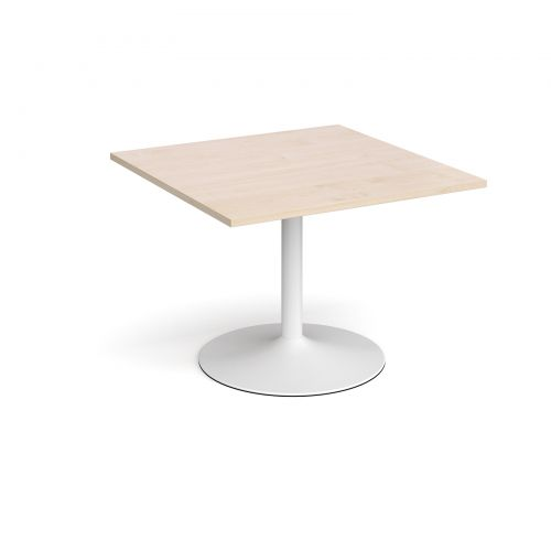 Trumpet base square extension table 1000mm x 1000mm - white base and maple top
