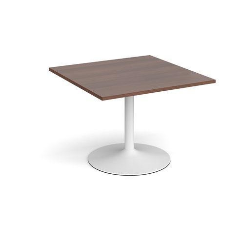 Trumpet base square extension table 1000mm x 1000mm - white base and walnut top