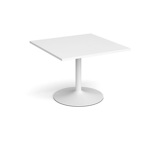 Trumpet base square extension table 1000mm x 1000mm - white base and white top