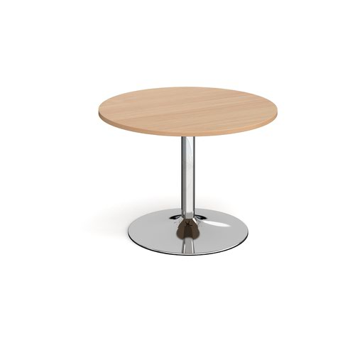 Trumpet base circular boardroom table 1000mm - chrome base and beech top