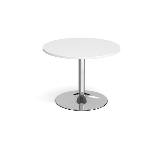 Trumpet base circular boardroom table 1000mm - chrome base and white top