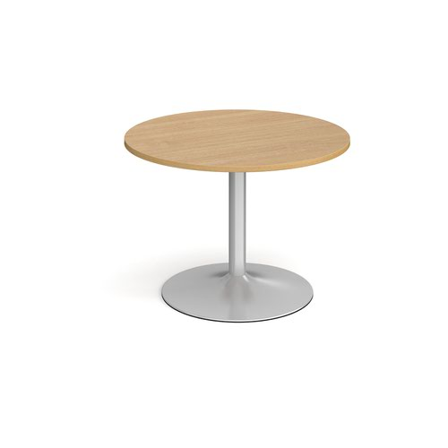 Trumpet base circular boardroom table 1000mm - silver base and oak top