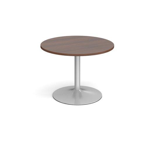 Trumpet base circular boardroom table 1000mm - silver base and walnut top