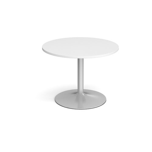 Trumpet Base Circular Boardroom Table 1000mm Silver Base White Top