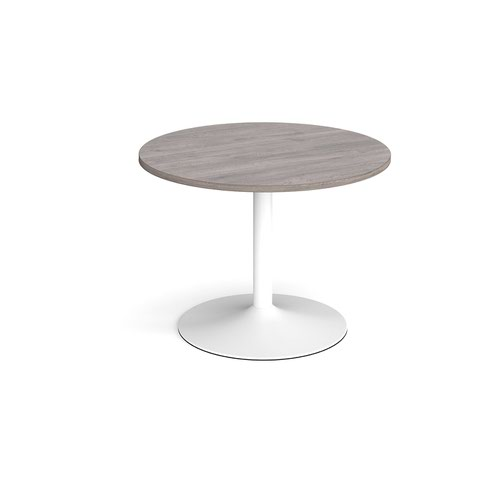 Trumpet base circular boardroom table 1000mm - white base and grey oak top