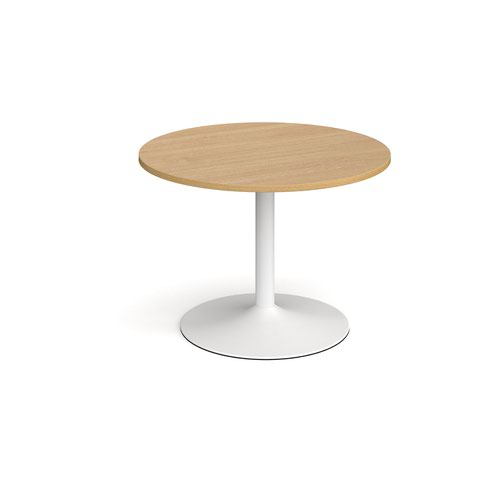Trumpet base circular boardroom table 1000mm - white base and oak top