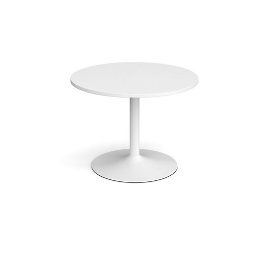 Trumpet base circular boardroom table 1000mm - white base and white top